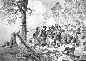 Battle of Sowia Góra - Battle of Batorz, 19th century engraving