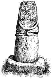 The runic cross stump in old St. Bridget's churchyard