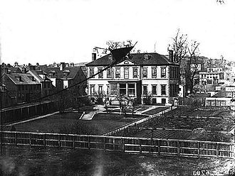 Halifax Central Library - The original Bellevue House, burned down around 1885 and rebuilt. Its replacement was demolished in 1955 and the site became a parking lot.