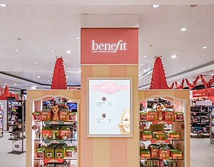 Benefit Cosmetics - Benefit stand in Debenhams department store in Sutton, London
