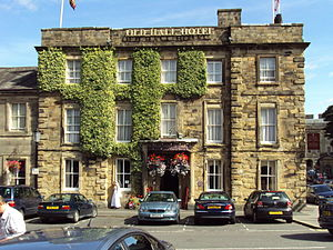 Buxton Crescent -  The Old Hall Hotel at the south-west end of the attached range of listed buildings