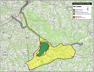 Battle of Bentonville - Map of Bentonville Battlefield core and study areas by the American Battlefield Protection Program