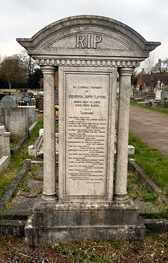 Cambridge City Cemetery - Image: Bertha Lewis Grave