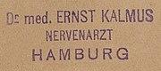 Besitzstempel von Dr. med. Ernst Kalmus