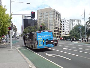 Central Connector, Auckland - A bus on Symonds Street, after the upgrade.