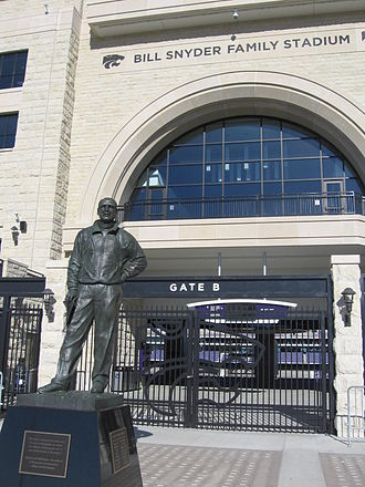 Bill Snyder Family Football Stadium - The main entrance to the West Side Stadium Center, with statue of Bill Snyder.
