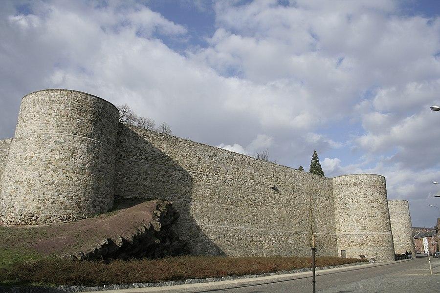Binche (Belgium), the medieval surrounding wall (XIVth century).