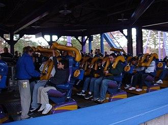 Bizarro (roller coaster) - Bizarro train in station