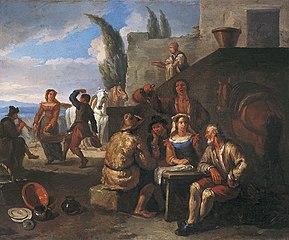 Buveurs et danseurs devant une auberge