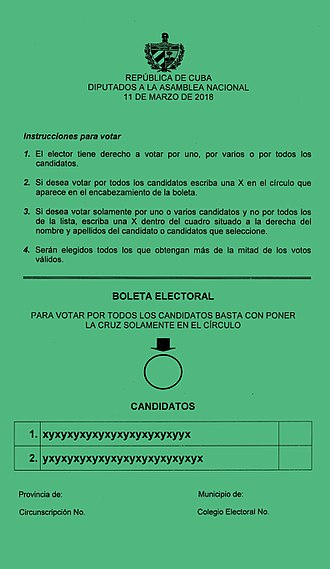 2018 Cuban parliamentary election - Ballot paper used in the election