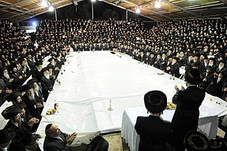 Hasidic Judaism - A tish of the Boyan Hasidic dynasty in Jerusalem, holiday of Sukkot, 2009.