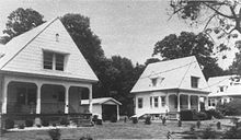 Three similar houses, with porches and garages