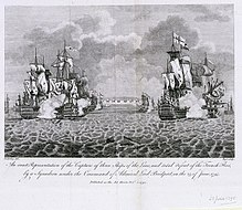 Sea scene. On the proper right three sailing ships with tattered sails and twisted masts are in group, smoke billowing from their sides. On the proper left are two more ships in a similar condition. Other ships are less distinct in the background and in the centre of the background is a large fort with cannon emplacements.