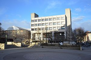 Bristo Square - Bristo Square prior to the 2015 redevelopment work.  This view shows 7 Bristo Square by the Modernist architects Robert Steedman (b. 1929) and James Morris (1931-2006).