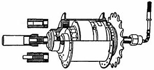 Henry Sturmey - Cross-sectional diagram of the Sturmey-Archer three-speed hub