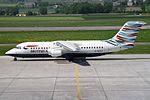 "British Airways British Aerospace Avro 146-RJ100 G-BZAT ""Waves of the City"" tail color (26695706060).jpg"