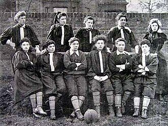 Nettie Honeyball - The British Ladies' Football Club North team from their first match; Nettie Honeyball is second from the left in the top row.