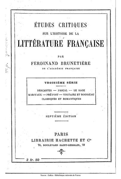 File:Brunetière - Études critiques sur l'histoire de la littérature française, série 3.djvu