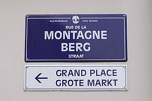 Multilingualism - A bilingual sign in Brussels, the capital of Belgium. In Brussels, both Dutch and French are official languages.