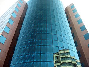 Polaroid (polarizer) - A building seen through polaroid sunglasses