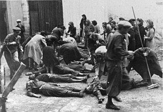 NKVD prisoner massacres - Ethnic Germans murdered at a Ternopil GPU prison, as German troops approached, are being identified by their relatives on July 10, 1941