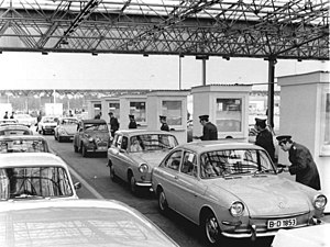 Berlin border crossings - East German guards checking cars at the Checkpoint Drewitz, the GDR side of Checkpoint Dreilinden/Checkpoint Bravo in 1972