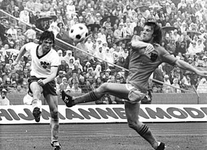 Jürgen Pommerenke - Ruud Krol (right) facing Pommerenke at the 1974 FIFA World Cup.