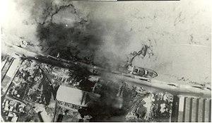 East Pakistan Air Operations, 1971 - Burning Steamer at Narayan Ganj - Hunter Attack
