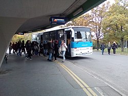 Bus line 12i with Ikarus suburban bus.jpg