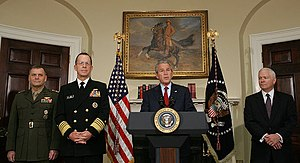 James Cartwright - President George W. Bush (at lectern) announces the nominations of Cartwright (far left) and Michael Mullen (second from left) to be Vice Chairman and Chairman of the Joint Chiefs of Staff, respectively, on June 28, 2007