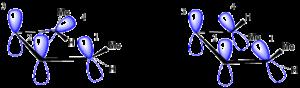 Möbius–Hückel concept - Figure 4. Butadiene–cyclobutene interconversion; disrotation per Hückel (left), conrotation per Möbius (right).