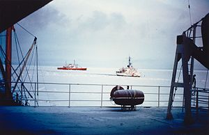 CCGS John A. Macdonald - CCGS John A. MacDonald (red ship at left) in the Northwest Passage, 1969.