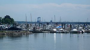 City Island, Bronx - Looking southwest at marina and distant Throgs Neck Bridge