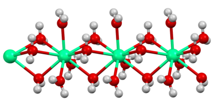 Structure of the polymeric [Ca(H2O)6] center in hydrated calcium chloride, illustrating the high coordination number typical for calcium complexes. Ca(aq)6 improved image.tif