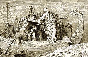 Lucius Septimius - Septimius (in armour) strikes Pompey from behind. 1880 illustration
