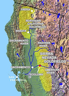 History of California - Wikipedia on california sacramento river on map, california gold country towns, california trail, california map sacramento ca, oregon trail map, california gold panning laws, california federal land map, california fracking wells, california physical map, coloma california map, gold country california map, california military bases list, trail of tears map, gold panning washington state map, california largest gold nugget found, california gold field map, land run map, nevada gold mine map, california exploration, california native gold,