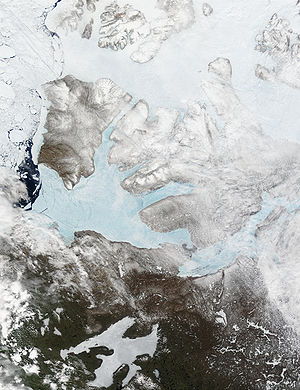 Amundsen Gulf - Satellite Image of Amundsen Gulf, looking bright blue before thaw