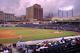 Canal park evening akron ohio 2005.jpg