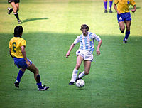 Claudio Caniggia dribbling in the 1990 World Cup match won by Argentina 1–0 324cb2375