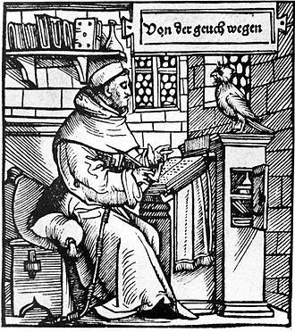 Thomas Murner - Thomas Murner as chancellor of the Gäuchmatt. Ambrosius Holbein (1519)