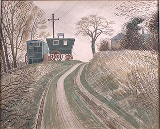 Eric Ravilious - Caravans, watercolour, 1936