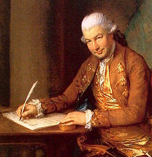 A painting of a man writing.
