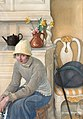 Carl Larsson - Girl with ice skates, interior from the school household, Falun 1917.jpg