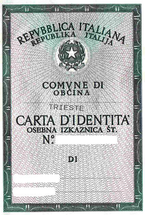 Slovene minority in Italy - A bilingual identity card issued in Trieste