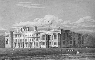 Castle Ashby House - Castle Ashby (east front) from Jones' Views of the Seats of Noblemen and Gentlemen (1819)