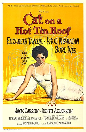 Elizabeth Taylor - Promotional poster for Cat on a Hot Tin Roof (1958)