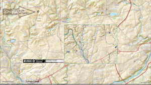 Catasauqua Creek - Overall view of region showing insert with relation relative to the Lehigh Canal and River.