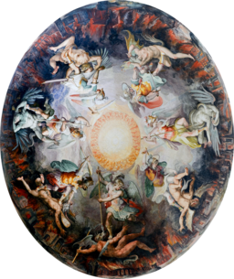 Ceiling Painted Dome Cupola Angels Fighting Demons in Vatican Museums