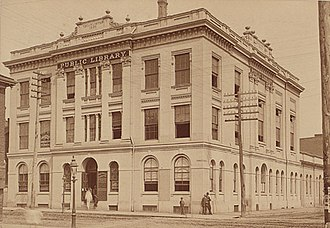 Toronto Public Library - The Toronto Mechanics' Institute in 1884. A library was established at the Institute in 1830, whose collection was later absorbed into the Toronto Public Library in 1884.
