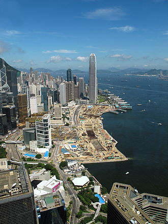 Central and Wan Chai Reclamation - Victoria Harbour in July 2010, viewed from Central Plaza, Wan Chai.